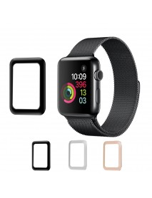 Aluminum Alloy Edge 0.2mm Tempered Glass Screen Protector Film for Apple Watch Series 3 38mm