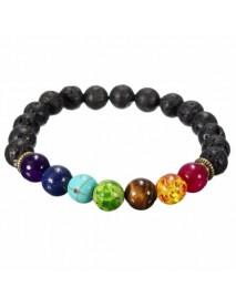 Black Lava Rock Stone Colorful Beads Elastic Bracelet