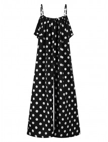 Bohemian Women Sleeve Jumpsuit Overalls Polka Dot Print Loose Summer Casual Jumpsuits