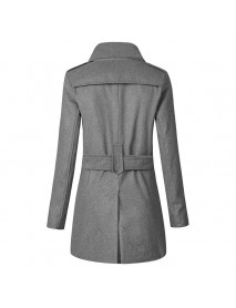 Mens Double Breasted Waistband Slim Mid Long Woolen Trench Coat