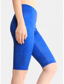 Geometric Print Seamless Banded Sports Biker Shorts For Women
