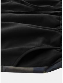 Men Casual Camouflage Stitching Elastic Waist Drawstring Pocket Shorts