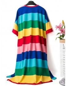 Cotton Short Sleeve Loose Rainbow Striped Cartoon Nightgown