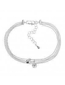 JASSY Platinum Plated Rhinestone Multilayer Simple Foot Chain Anklet Fine Jewelry for Women