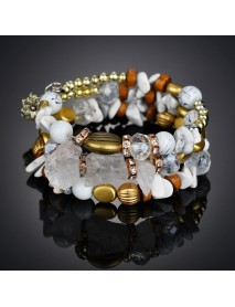 Bohemian Crushed Stone Bracelet Multi Layer Beaded Bracelet Mix Color Crystal Women Bracelet
