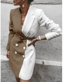 Long Sleeved Color Block Button Turn-down Collar Causal Blazers Coats