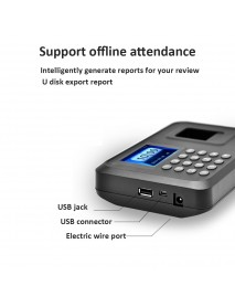 2.8 Employee Biometric Fingerprint Recorder Attendance Clock Time Card Machine