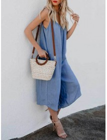 Plus Size Casual Straps Blue Wide Leg Overall Jumpsuit For Women