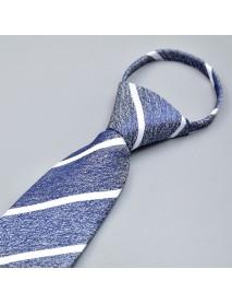 Men Business Processional Dress Striped Tie Laze Zipper Gentle Polyester Ties