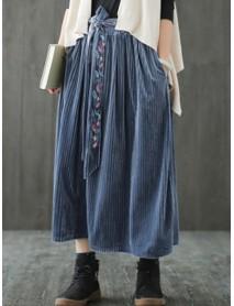 Vintage Women Pleated Pleuche Embroidery Elastic Waist Skirts