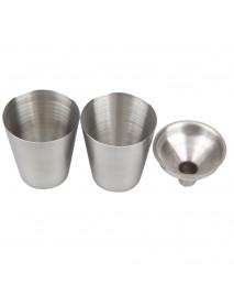 KCASA 8 Oz Stainless Steel Hip Flask Set With Funnel Hip Pocket Flagon Whiskey Brandy Vodka Pot Men