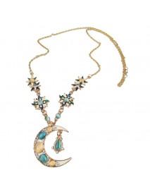 Bohemian Sun Moon Pendant Opal Charm Necklace Rhinestone Crystal Stellar Gold Necklaces for Women