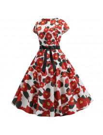 3d Retro Hepburn Wind Digital Print Big Swing Skirt Waist Dress Dress Female 335