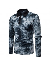 Men Art Print Long Sleeve Turn-down Collar T-Shirts