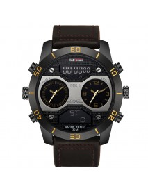 KADEMAN 158 Fashion Men Digital Watch Luminous Date Month Display Leather Strap LCD Dual Display Watch