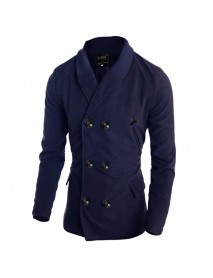 Mens Double Breasted Winter Trench Pea Coat