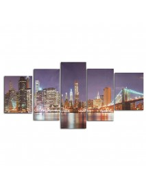 5Pcs Cityscape Night Canvas Art Print Paintings Picture Home Wall Decor