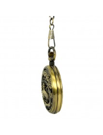 JIJIA JX014 Crane Pattern Hollow Black Bronze Mechanical Pocket Watch