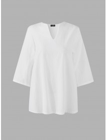 3/4 Sleeve V-neck Loose Solid Color Cotton Blouse For Women