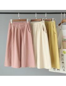 [Ou Ma Lai] Season New Casual Solid Color Elastic High Waist Large Swing Skirt 1478