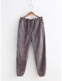 L-3XL Casual Women Corduroy Elastic Waist Pants