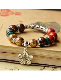 Ethnic Colorful Beads Flower Bracelet Vintage Adjustable Ceramic Bracelets For Women