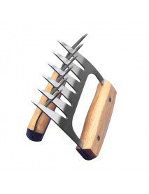 2pcs  Bear Claws Meat Divider Torning Pork Stainless Steel BBQ Forks With Wooden Handle Meat Chopper