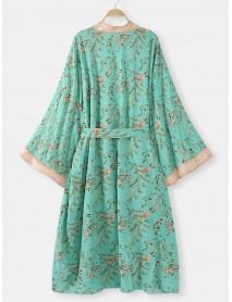 Bohemian Print Long Sleeve Summer Beach Floral Long Cardigans