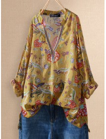 Bohemian Embroidery Floral V-neck Summer Plus Size Blouse