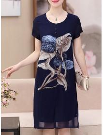 Elegant Women Floral Print O-neck Chiffon Dress