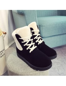Casual Comfy Lace Up Winter Warm Ankle Boots