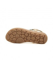 Bohemia Bead Rhinestone Elastic Beach Flat Sandals Peep Toe Flip Flops