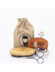 6 Pcs Beard Care Set Beard Beard Oil Beard Cream Double-sided Comb Brush Brush Bag Scissors