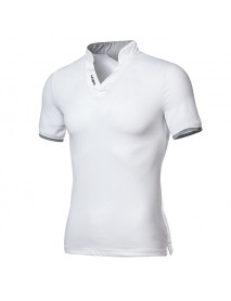 Banggood Fashion Leisure V-neck Solid Color T-shirts Men's Outdoor Casual Short Sleeve Tops Tees