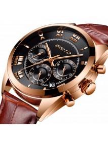 GIMTO GM247 Men Watch Multifunction Calendar Watch Leather Strap Men Sport Quartz Watch