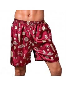 INCERUN Mens Sleepwear Satin Faux Silk Boxers Pajamas Shorts Nightwear Lounge Pants