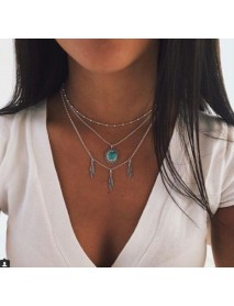 Bohemian Multilayer Silver Necklace laeave Turquoise Chain Pendant Necklace for Women