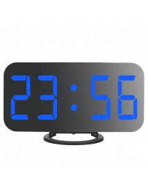 Digital Alarm Clock Portable Mirror HD LED Time Display Function, Dual USB Port Charging, Suitable for Bedroom, Office, Travel