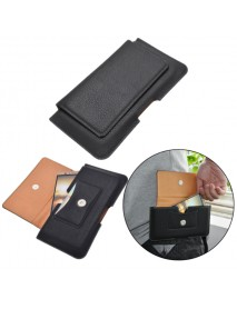Black Universal Leather Magnetic Waist Card-slot Bag Case For Phone Under 6.3 Inch