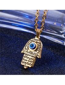 REZEX Buddhist Men's Necklace Titanium Steel Gold Silver Buddha Palm Pendant Necklace With Case