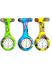 Butterfly Pattern Nurse Watch  Colorful Silicone Pocket Watch Doctor Fob Watch