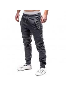Casual Elastic Waist Double Zipper Pocket Drawstring Sport Pants