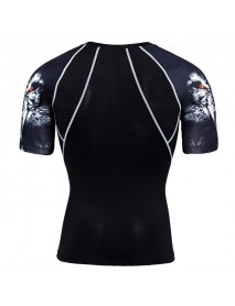 JACK CORDEE Sport Fitness Men's Leisure Printing Round Collar Short Sleeved T-shirt Fast Dry Breatha