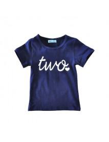 Kid Girls Cute Letter Heart Printed Short Sleeve T-Shirt Geometric Print Skirt Set
