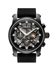 CRRJU 2137 Military Style Skeleton Chronograph Quartz Watch Genuine Leather Strap Men Watches