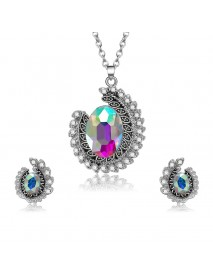 Fashion Wedding Bridal Jewelry Set Colorful Rhinestone Unique Necklaces Stud Earrings for Women