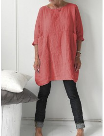 3/4 Sleeve Crew Neck Solid Pocket Cotton Women Casual Dress