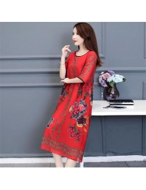 Age-reducing Equipment New Large Size Women's Chiffon Print Dress Foreign Gas Cover Meat Fat Mm Loose Knee Long Skirt