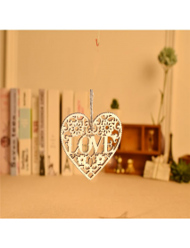 10pcs Heart Love DIY Woodcraft Hanging Decoration Craft Gift