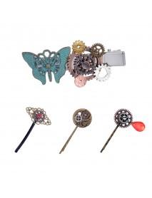 Steampunk Gear Butterfly Women's Hair Clip Goth Punk Vintage Hair Accessories Jewelry for Women